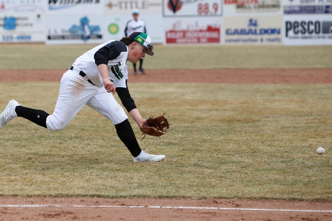 Farmington's Marcus Maldonado scoops up the ball and throws it to first base against Miyamura during Saturday's game at Ricketts Park in Farmington.