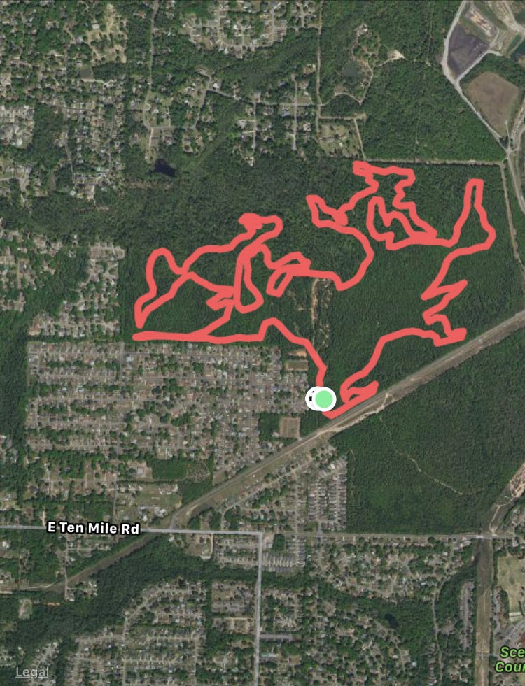The Full Games Loop cycling and hiking trail near University of West Florida.