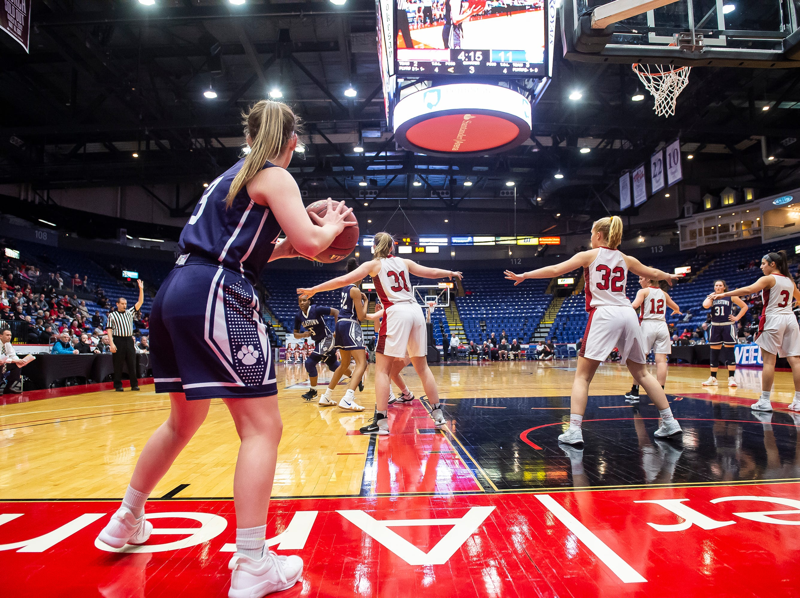 Dallastown's Claire Teyral looks to inbound the ball during the District 3 6A girls championship game against Cumberland Valley at the Santander Arena in Reading, Pa., Friday, March 1, 2019. Dallastown fell 33-27.