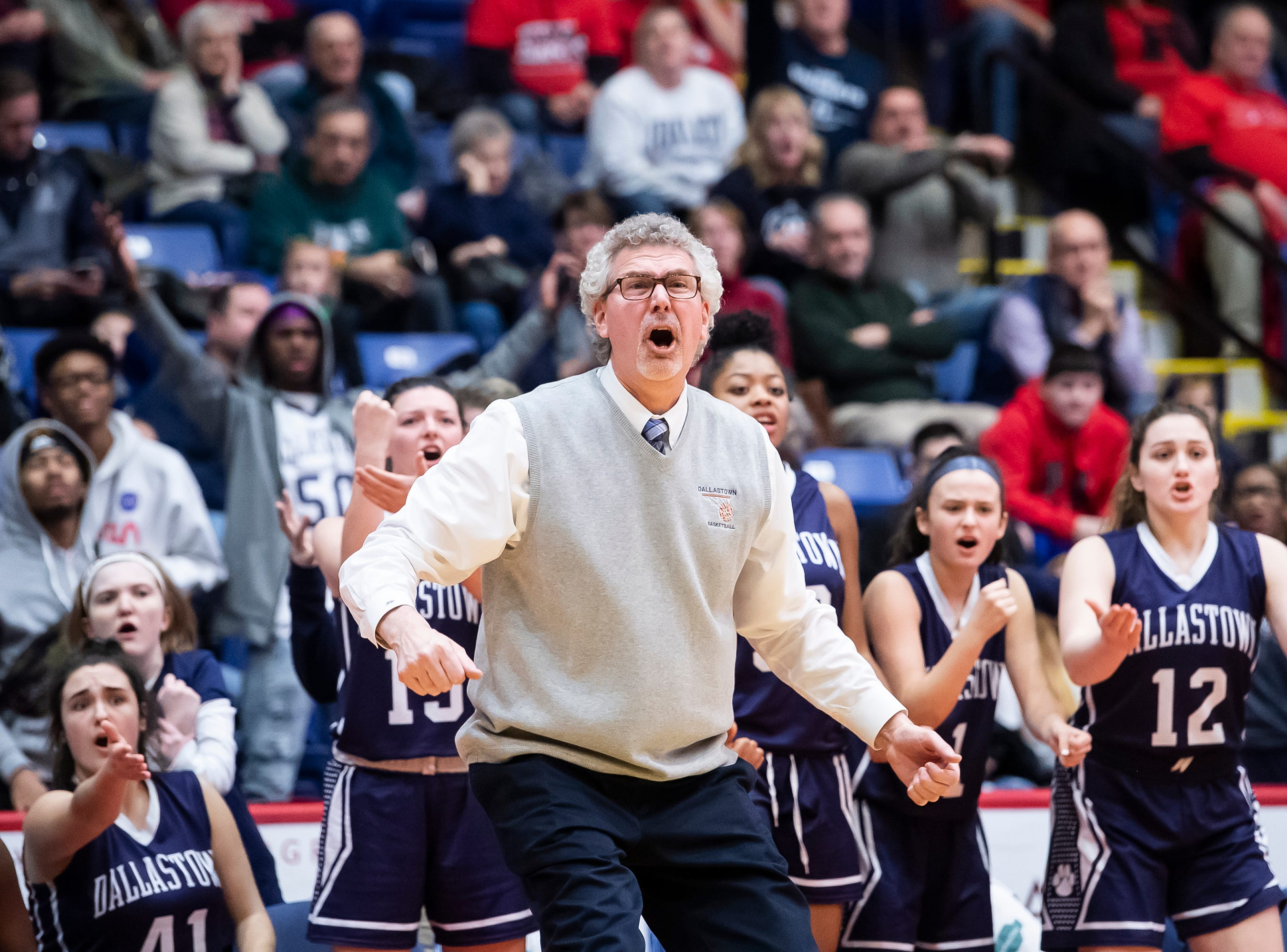Dallastown head coach Jay Rexroth reacts after a call against the Wildcats during the District 3 6A girls championship game against Cumberland Valley at the Santander Arena in Reading, Pa., Friday, March 1, 2019. Dallastown fell 33-27.