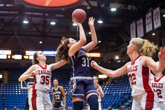 Dallastown's Samantha Miller shoots a layup during the District 3 6A girls championship game against Cumberland Valley at the Santander Arena in Reading, Pa., Friday, March 1, 2019. Dallastown fell 33-27.