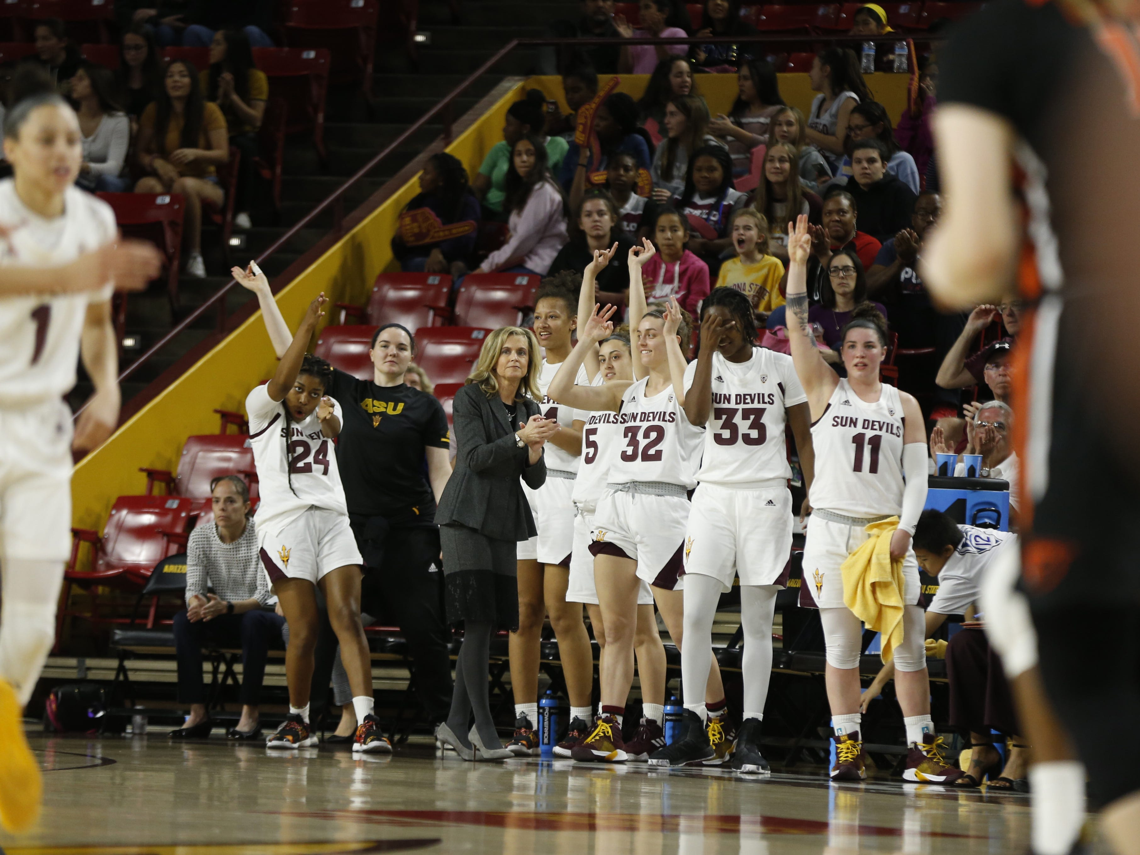 ASU's bench reacts after a basket against Oregon State during the first half at Wells Fargo Arena in Tempe, Ariz. on March 1, 2019.