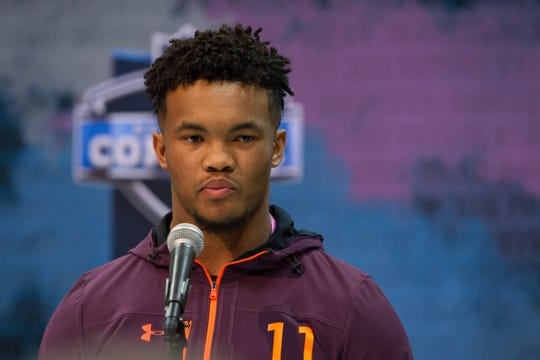 Oklahoma quarterback Kyler Murray speaks to media at the NFL scouting combine at the Indiana Convention Center.