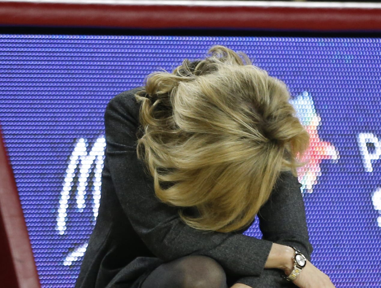 ASU's head coach Charli Turner Thorne hangs her head after a turnover against Oregon State during the second half at Wells Fargo Arena in Tempe, Ariz. on March 1, 2019.