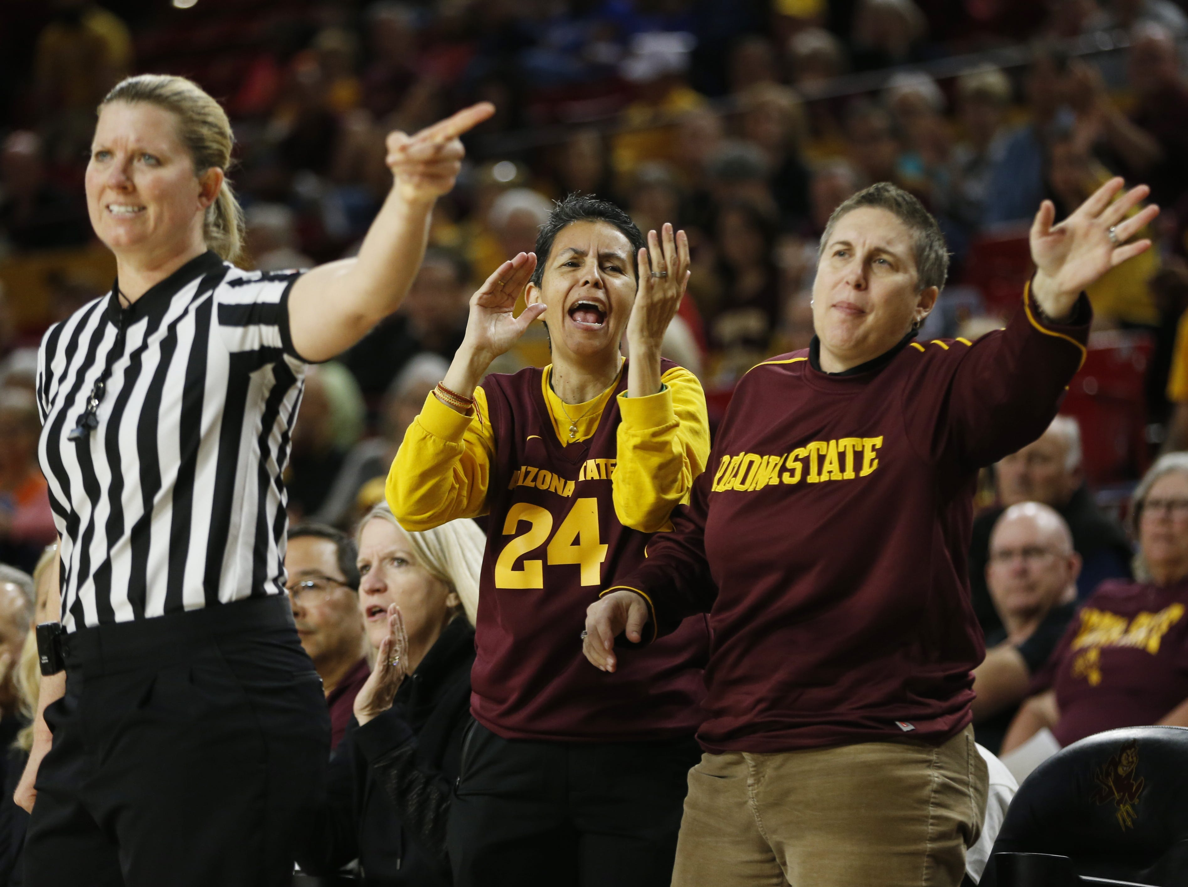 ASU fans react as a ball is called their way against Oregon State during the second half at Wells Fargo Arena in Tempe, Ariz. on March 1, 2019.