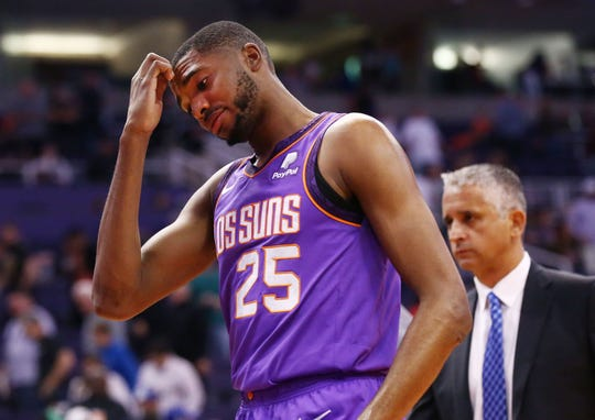 Phoenix Suns Mikal Bridges and head coach Igor Kokoskov reacts after being defeated 130-116 by the New Orleans Pelicans on Mar. 1, 2019, at Talking Stick Resort Arena in Phoenix, Ariz.