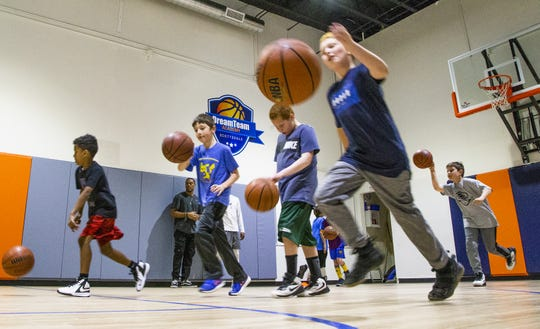 Mimi Sommers is the owner and director of DreamTeam Academy Scottsdale, a learning facility for children who want to learn basketball. The class of 9 to 11 year olds gets to work on Monday, Feb. 25, 2019.