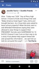 "Jennifer Farris' Facebook post about ""Party in the USA"" day at Perry High School on Friday, March 1."