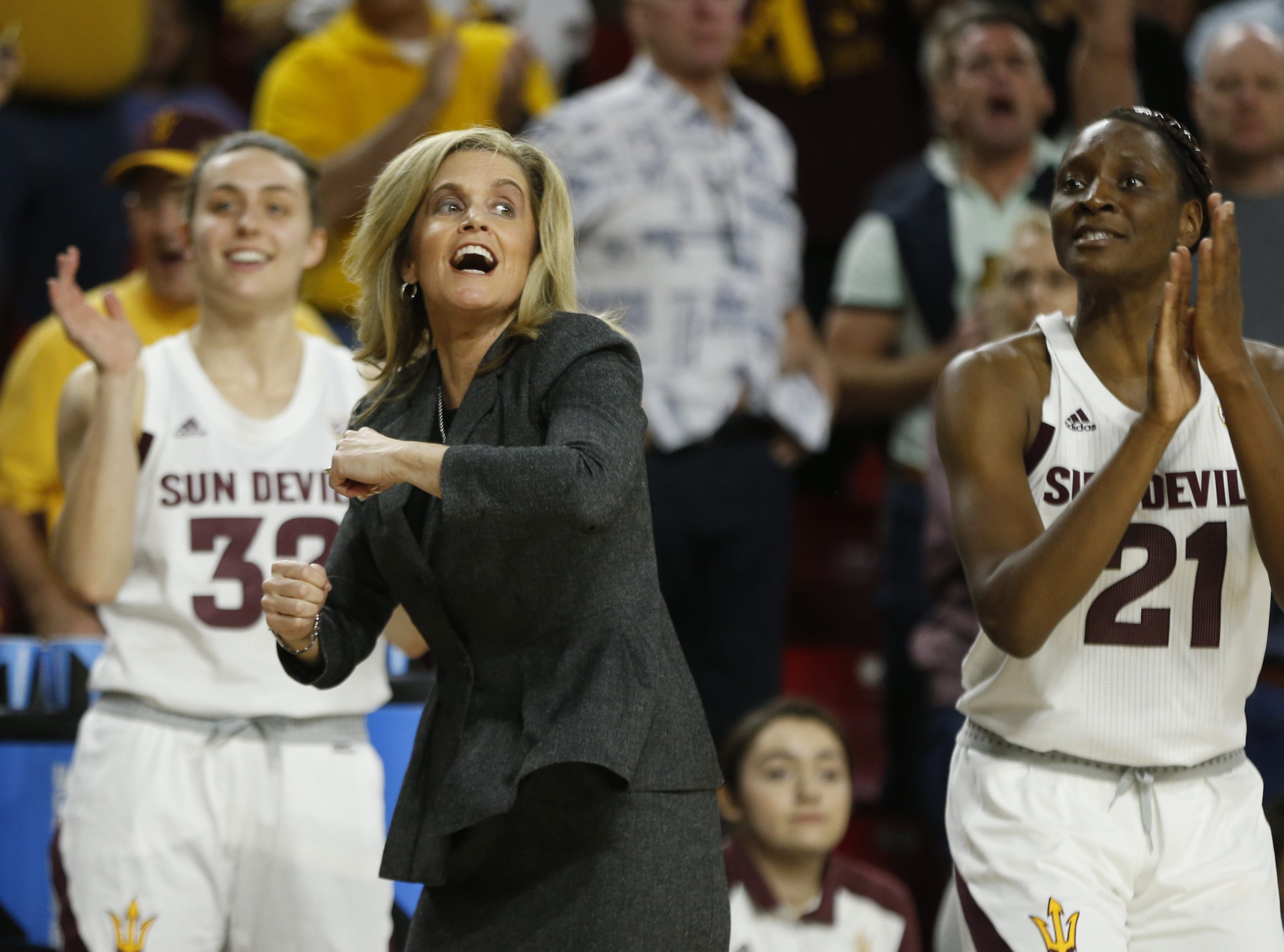 ASU's Charli Turner Thorne reacts with her team after a basket and foul call against Oregon State during the second half at Wells Fargo Arena in Tempe, Ariz. on March 1, 2019.