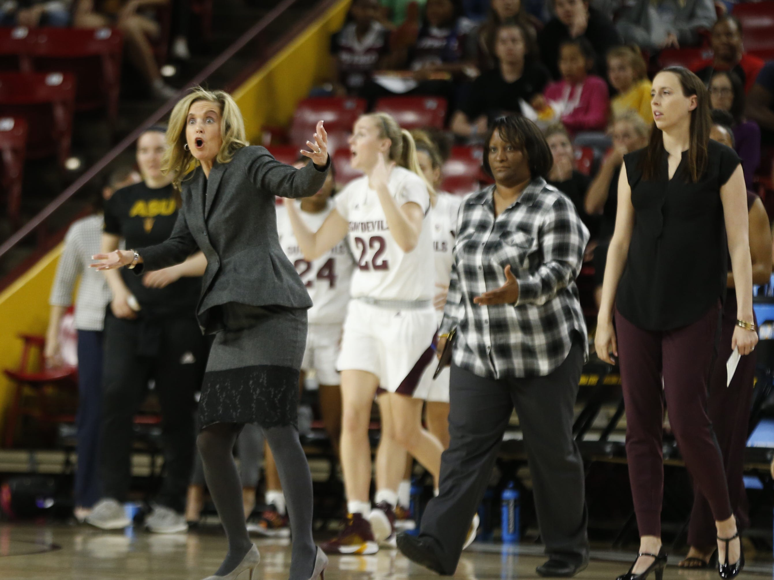 ASU's head coach Charli Turner Thorne yells to officials after calling a timeout during the first half at Wells Fargo Arena in Tempe, Ariz. on March 1, 2019.