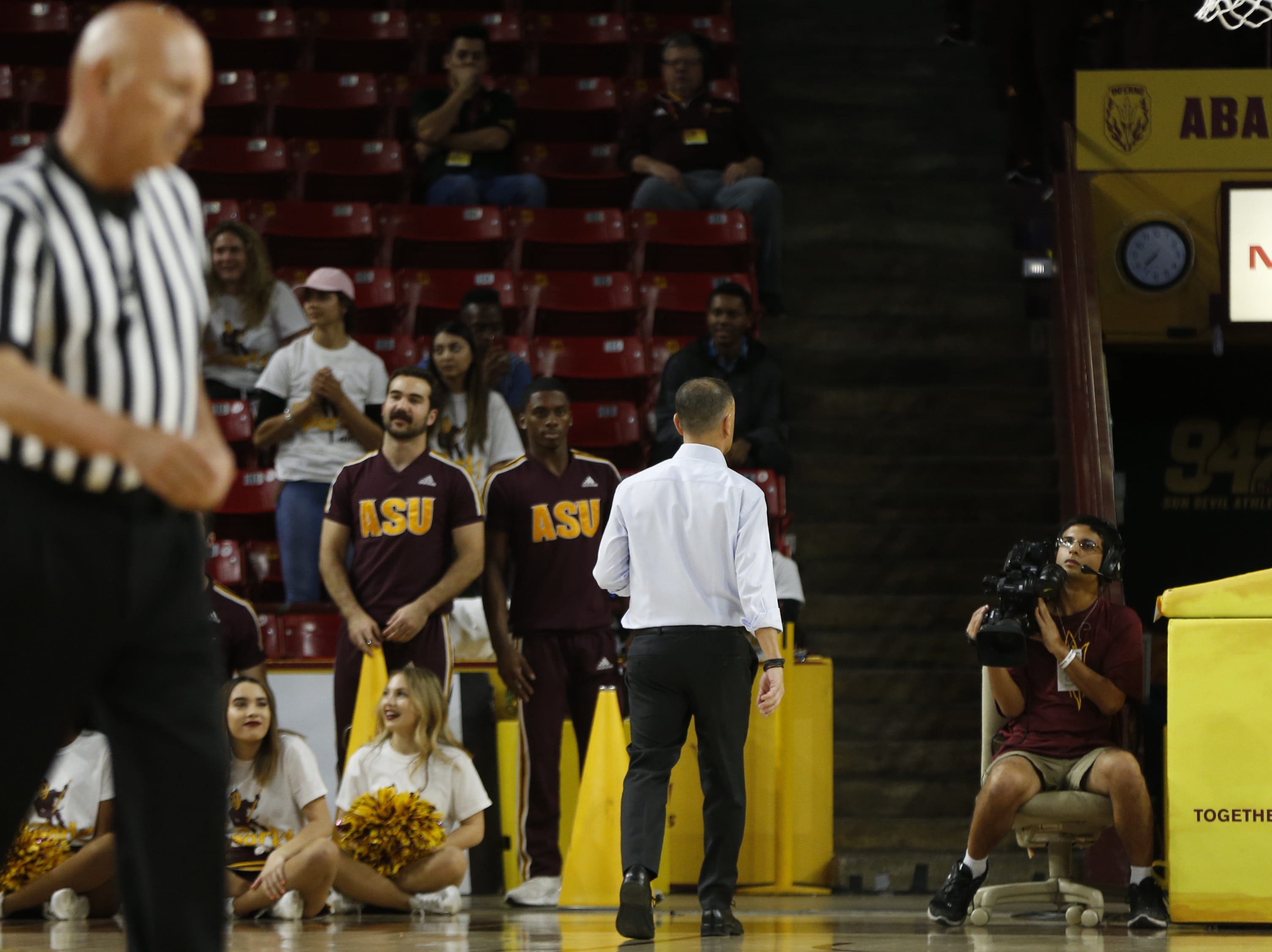 Oregon State's head coach Scott Rueck walks off the court after being called for two technical fouls against ASU during the second half at Wells Fargo Arena in Tempe, Ariz. on March 1, 2019.