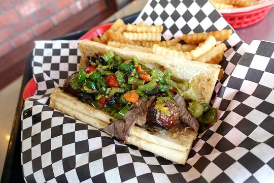 Combo sandwich (Italian sausage and Italian beef) at Luke's of Chicago in Phoenix.