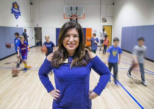 Mimi Sommers is the owner and director of DreamTeam Academy Scottsdale, a learning facility for children who want to learn basketball.  A class begins behind Sommers on Monday, Feb. 25, 2019.