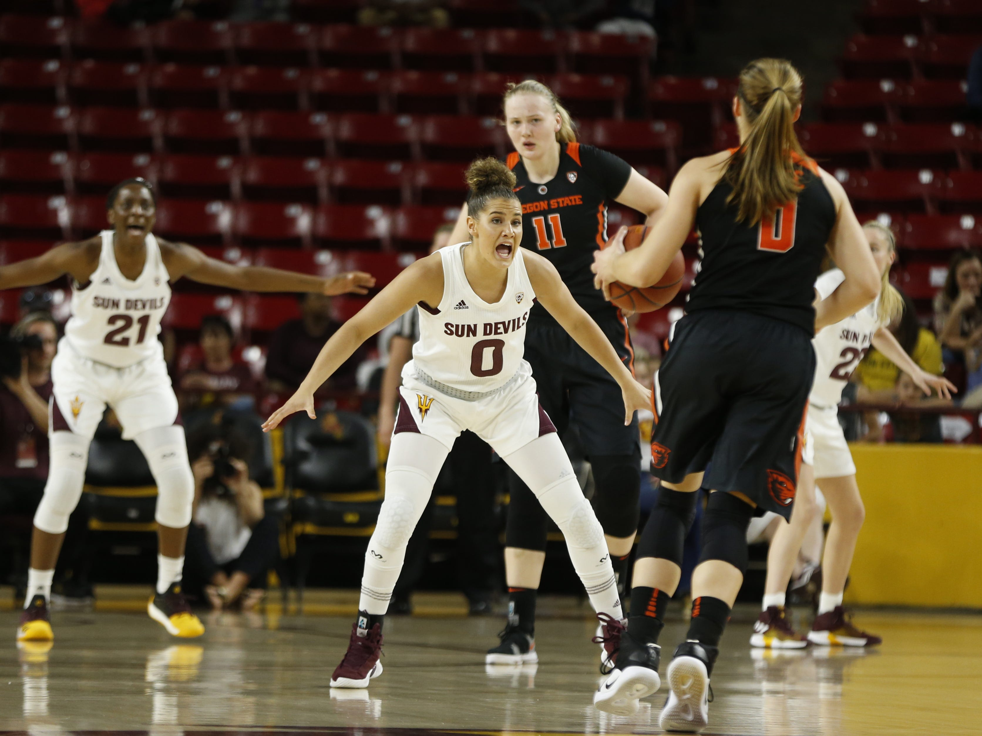ASU's Taya Hanson (0) defends Oregon State's Mikayla Pivec (0) during the first half at Wells Fargo Arena in Tempe, Ariz. on March 1, 2019.