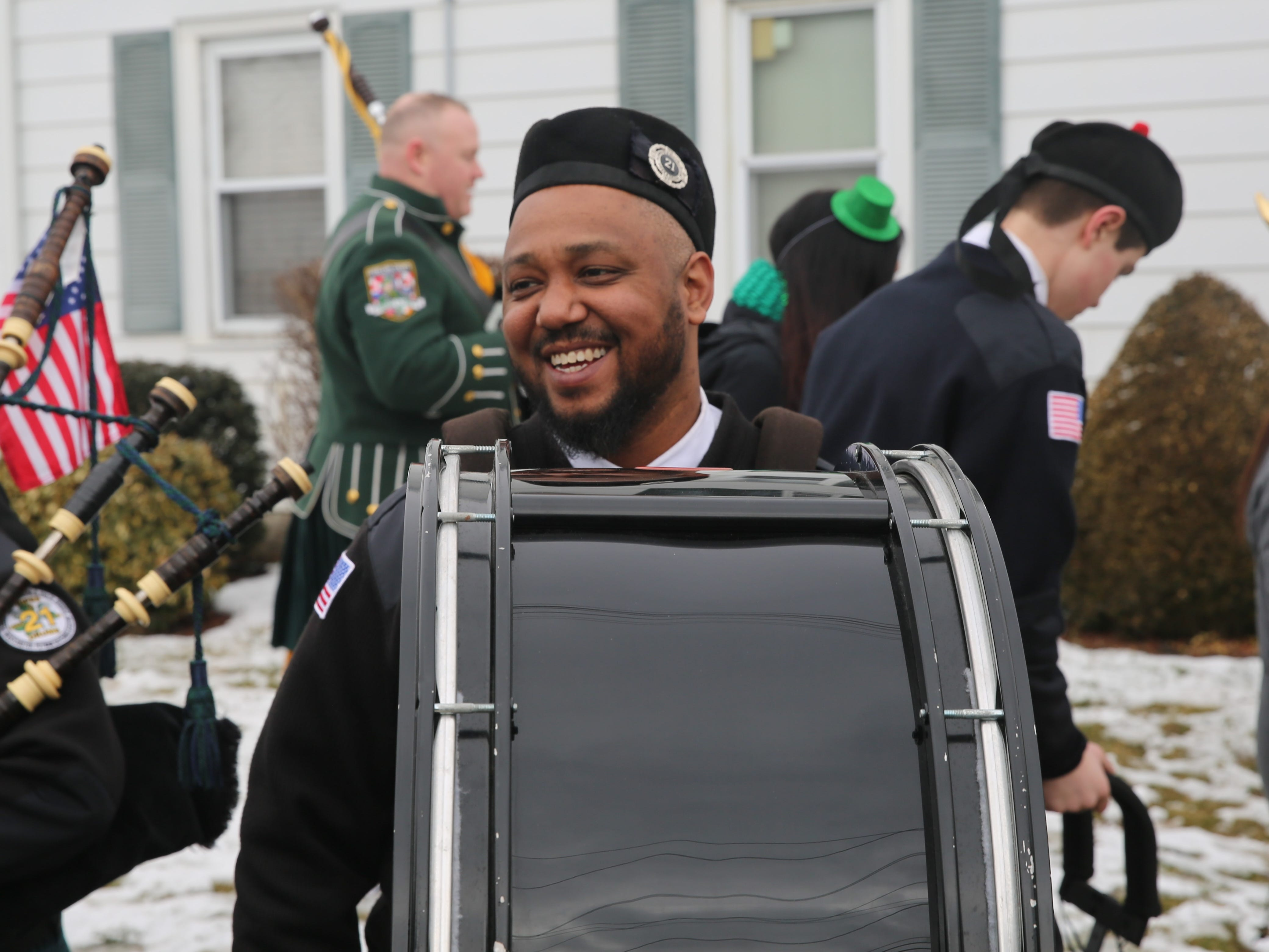Tony Fortunato, 37, of Yonkers, warms up with Local 21 Pipes and Drums before the Dutchess County St. Patrick's Day Parade on Saturday.