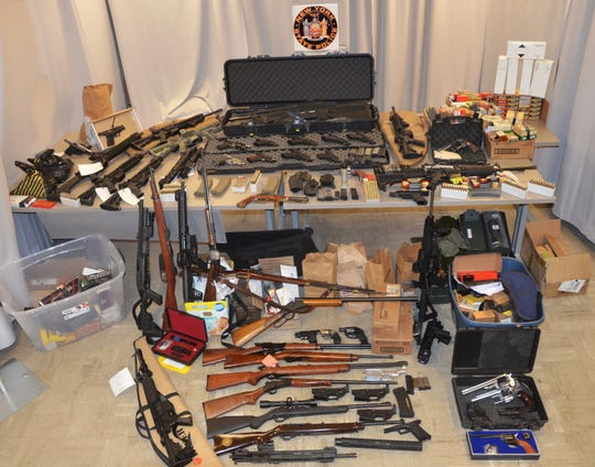 Weapons recovered by police during the arrest of New York City Department of Environmental Protection Police Sgt.  Gregg Marinelli, 38, of Plattekill.