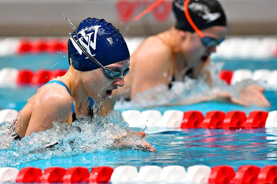 West York's Meaghan Harnish, front, was one of the top female swimmers in the York-Adams League this season.