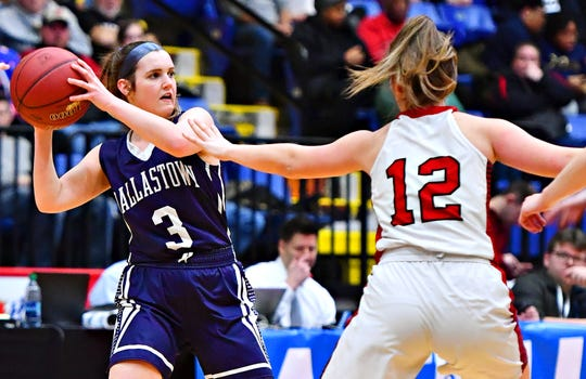 Dallastown vs Cumberland Valley during PIAA District III, Class 6-A girls basketball championship action at Santander Arena in Reading, Friday, March 1, 2019. Cumberland Valley would win the game 33-27. Dawn J. Sagert photo