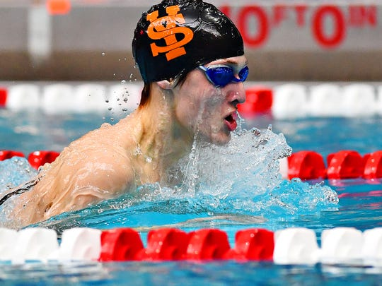 York Suburban's Matt Peters competes in the 100 breaststroke during the District 3 Swimming Championships at Cumberland Valley High School in 2019. Peters is one of the Trojans' top returning swimmers for the 2019-2020 season.