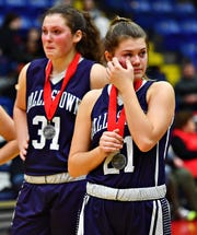 Dallastown falls to Cumberland Valley 33-27 during PIAA District III, Class 6-A girls basketball championship action at Santander Arena in Reading, Friday, March 1, 2019. Dawn J. Sagert photo