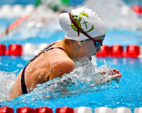 York Catholic's Jessie McMurray is the No. 3 seed in the Class 2-A 100-yard breaststroke at the PIAA Swimming and Diving Championships. DISPATCH FILE PHOTO