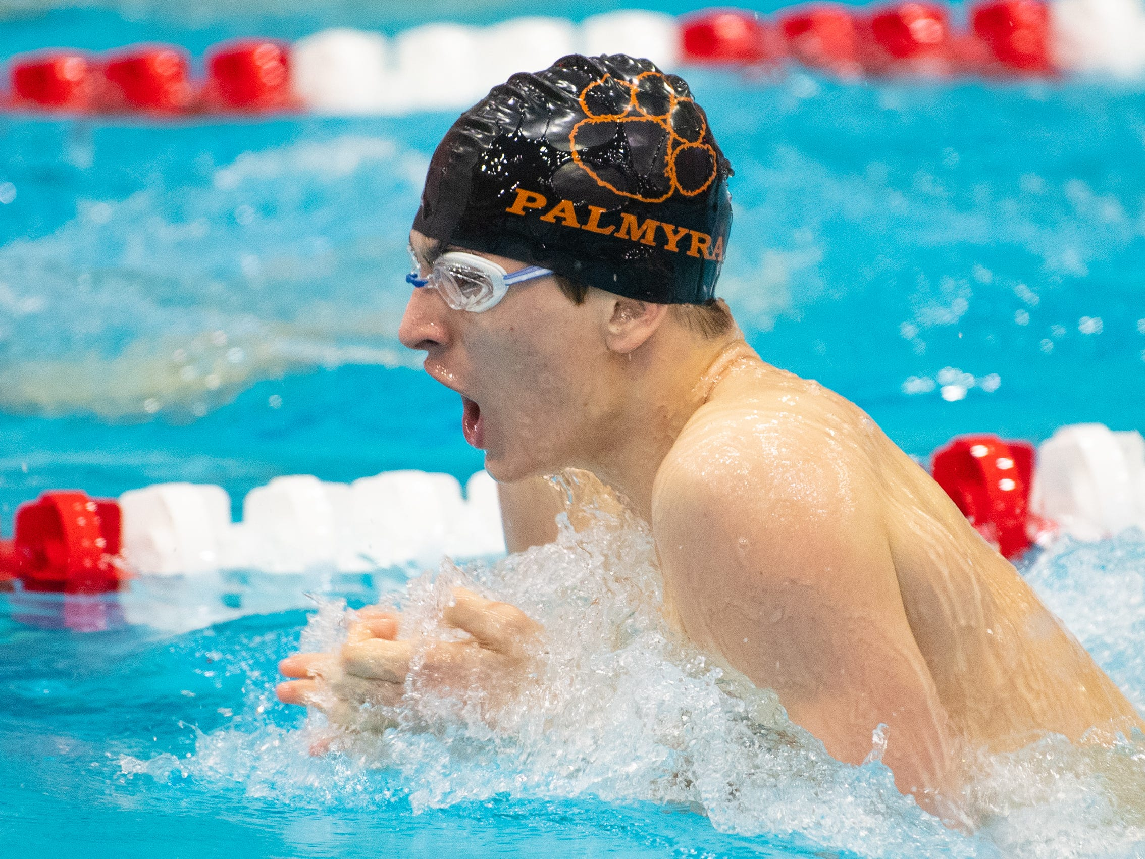 Austin Durand of Palmyra competes in the Boys 200 Yard IM during the PIAA District 3 Boys AAA Championship, March 1, 2019 at Cumberland Valley High School.