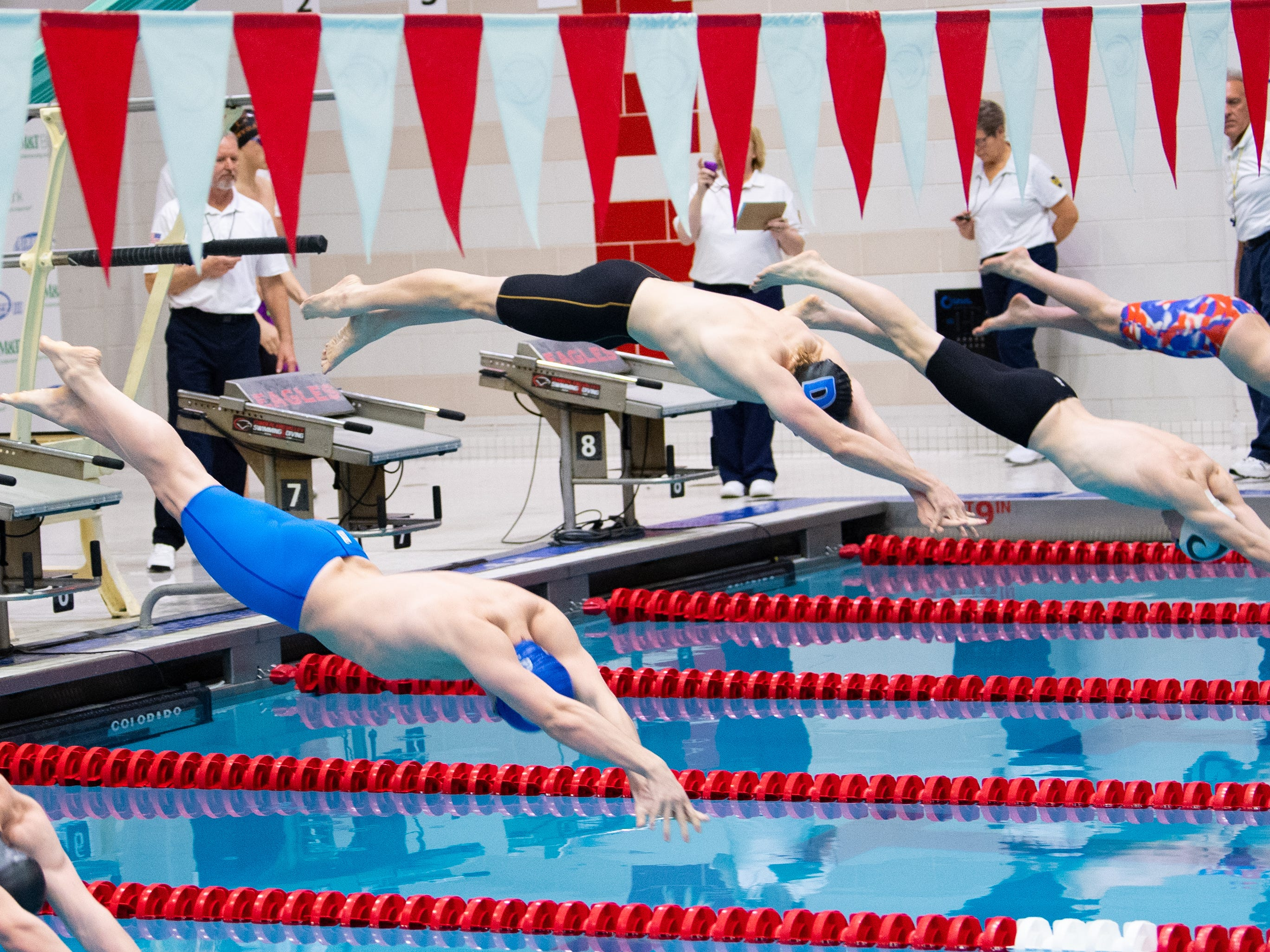 The Boys 50 Yard Freestyle starts during the PIAA District 3 Boys AAA Championship, March 1, 2019 at Cumberland Valley High School.
