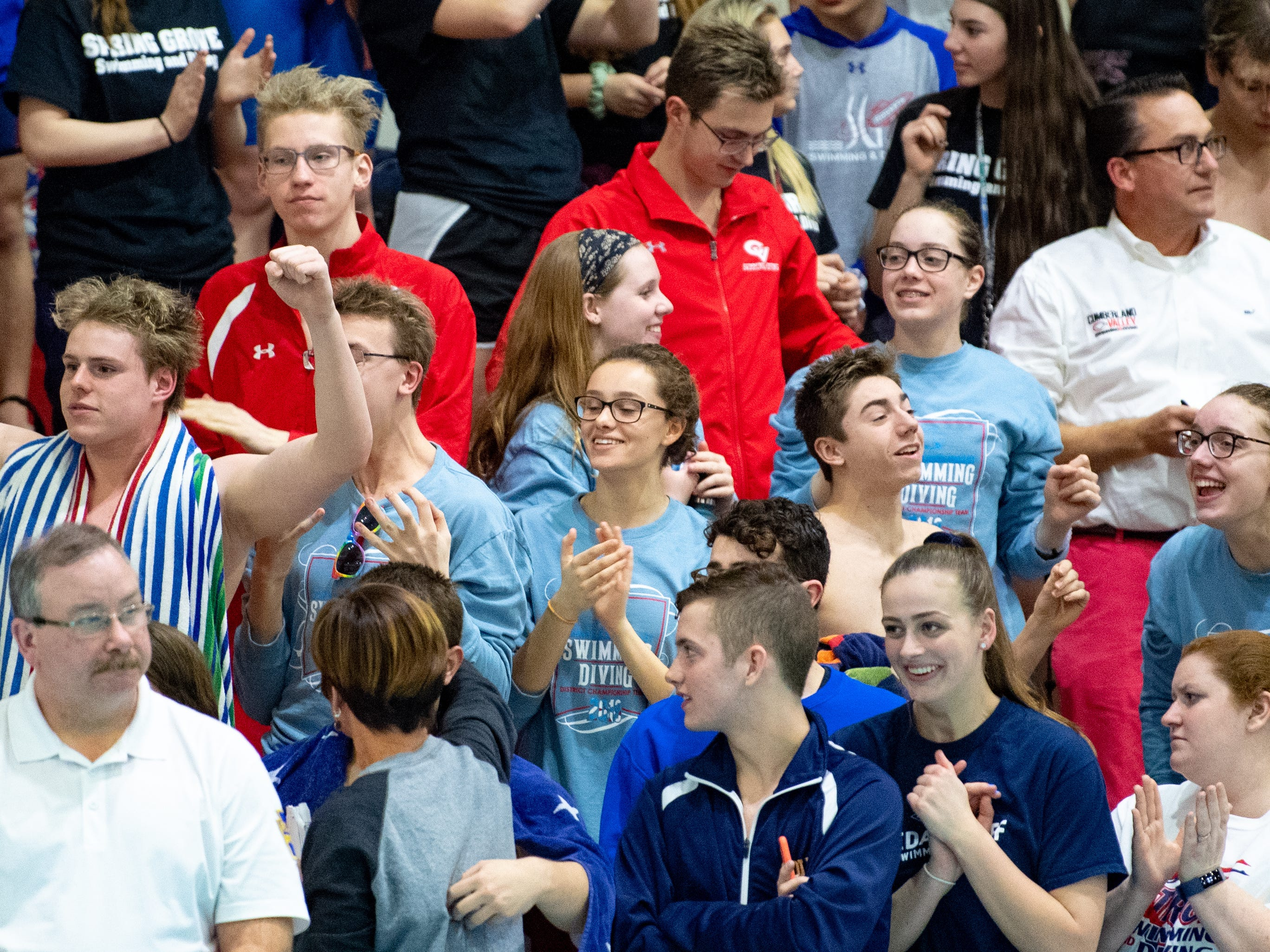 Fans cheer for their respective teams during the PIAA District 3 Boys AAA Championship, March 1, 2019 at Cumberland Valley High School.