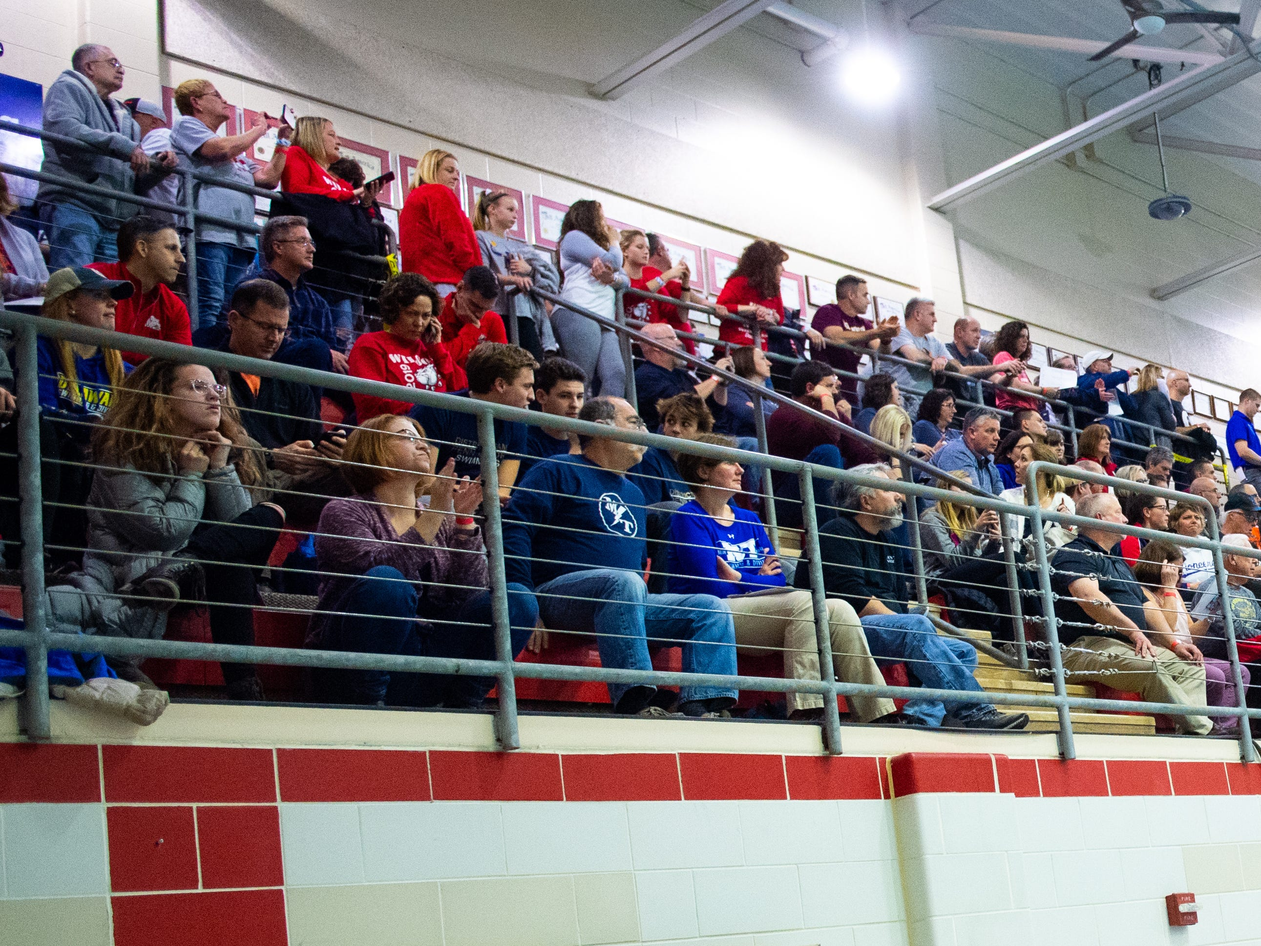 Friends and family pile onto the upper deck of the natatorium during the PIAA District 3 Championships, March 1, 2019 at Cumberland Valley High School.