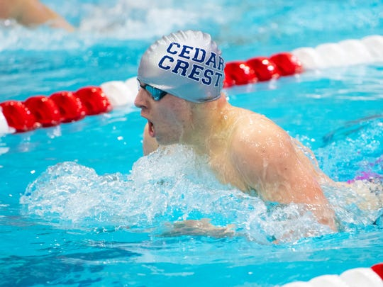 Logan Smith of Cedar Crest captured the Boys 100 Yard Breast Stroke title during the PIAA District 3 Boys AAA Championship, March 2, 2019 at Cumberland Valley High School.
