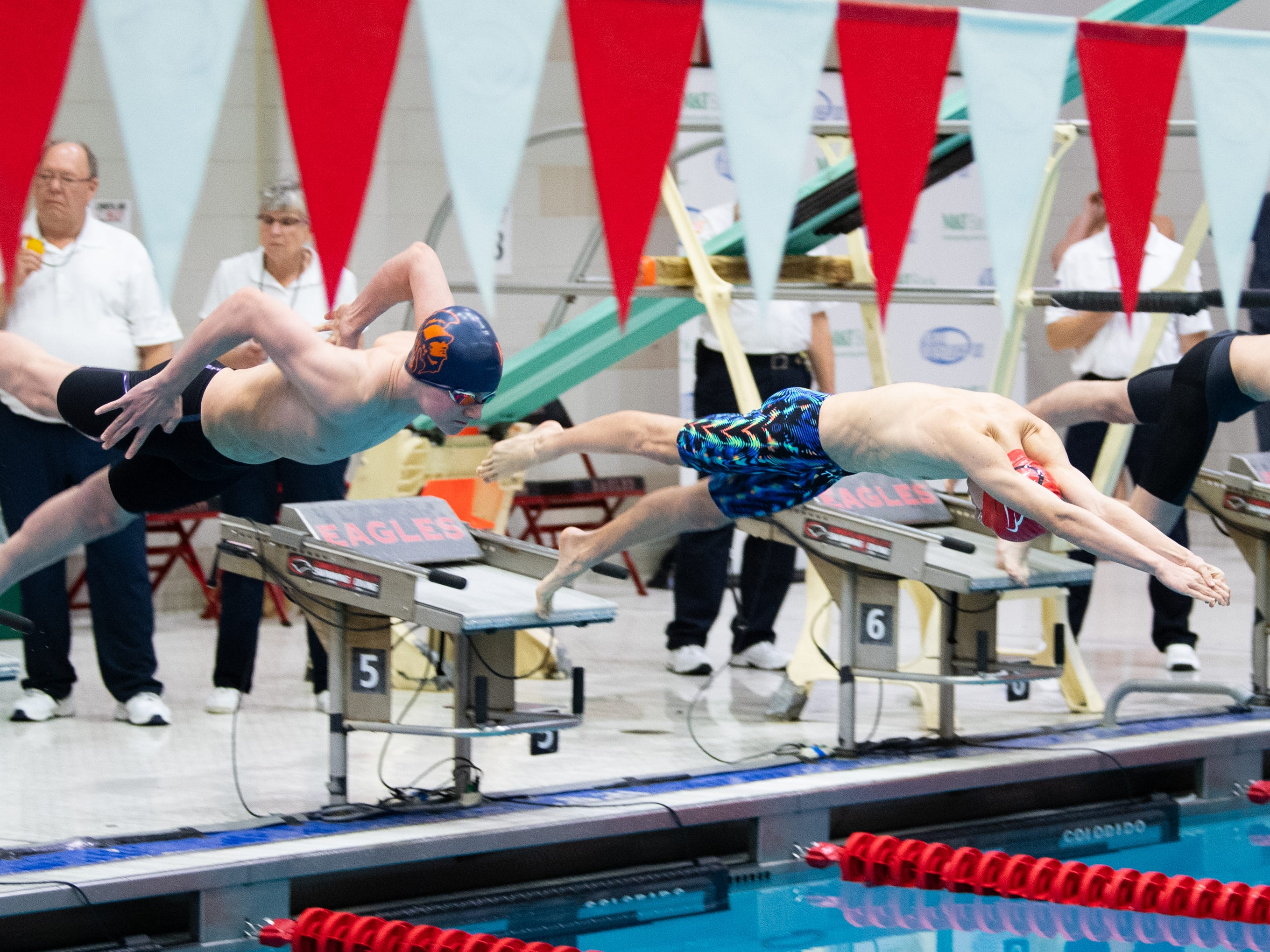 The Boys 200 Yard IM begins during the PIAA District 3 Boys AAA Championship, March 1, 2019 at Cumberland Valley High School.