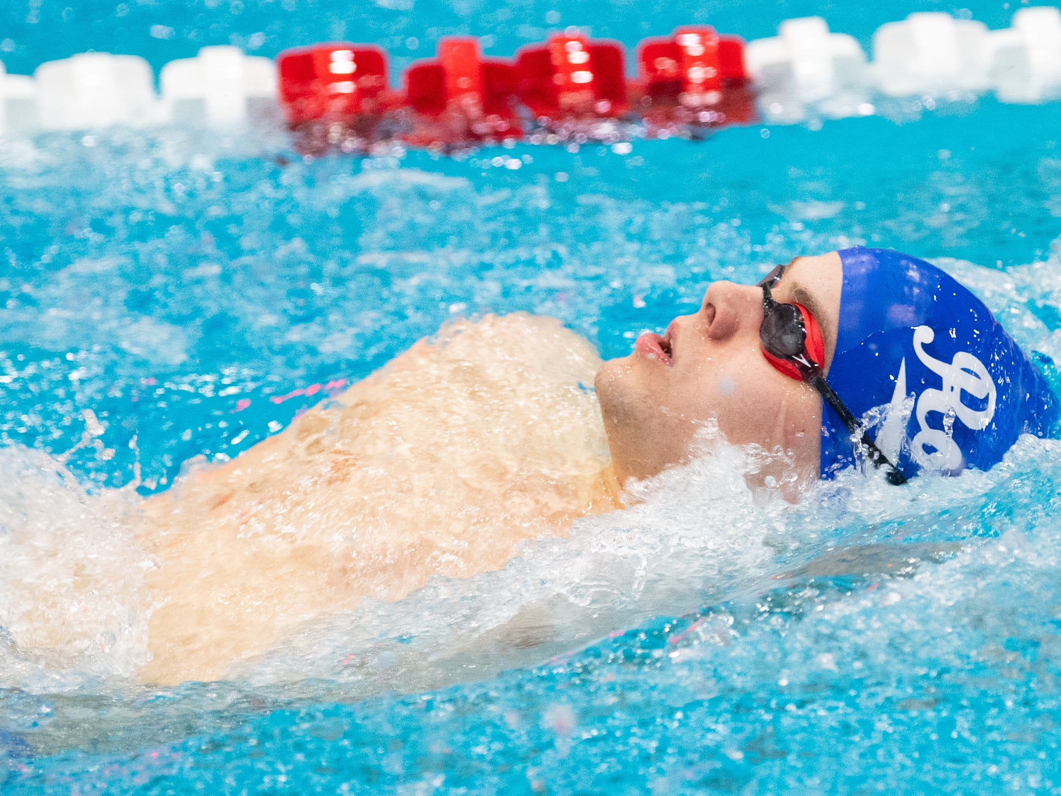 Josiah Kline of Spring Grove competes in the Boys 200 Yard IM during the PIAA District 3 Boys AAA Championship, March 1, 2019 at Cumberland Valley High School.