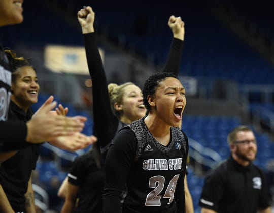 The Nevada bench celebrates a score by Jade Redmon against UNLV late at Lawor Events Center on Jan. 30, 2019. Nevada beat UNLV 62-70.