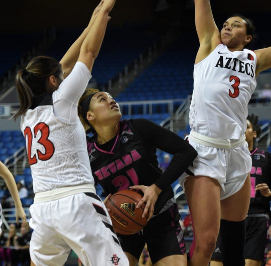 Nevada's Imani Lacy looks to shoot between San Diego State's Loli Gomez, left, and Mallory Adams at Lawlor Events Center on Feb. 20, 2019. Nevada beat San Diego State 74-69.