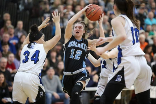 Midlakes guard Alaina Forbes drives the lane against Batavia during the Section V Class B1 girls basketball championship game Friday night at Caledonia-Mumford. Forbes scored 35 points as Midlakes won 79-66.