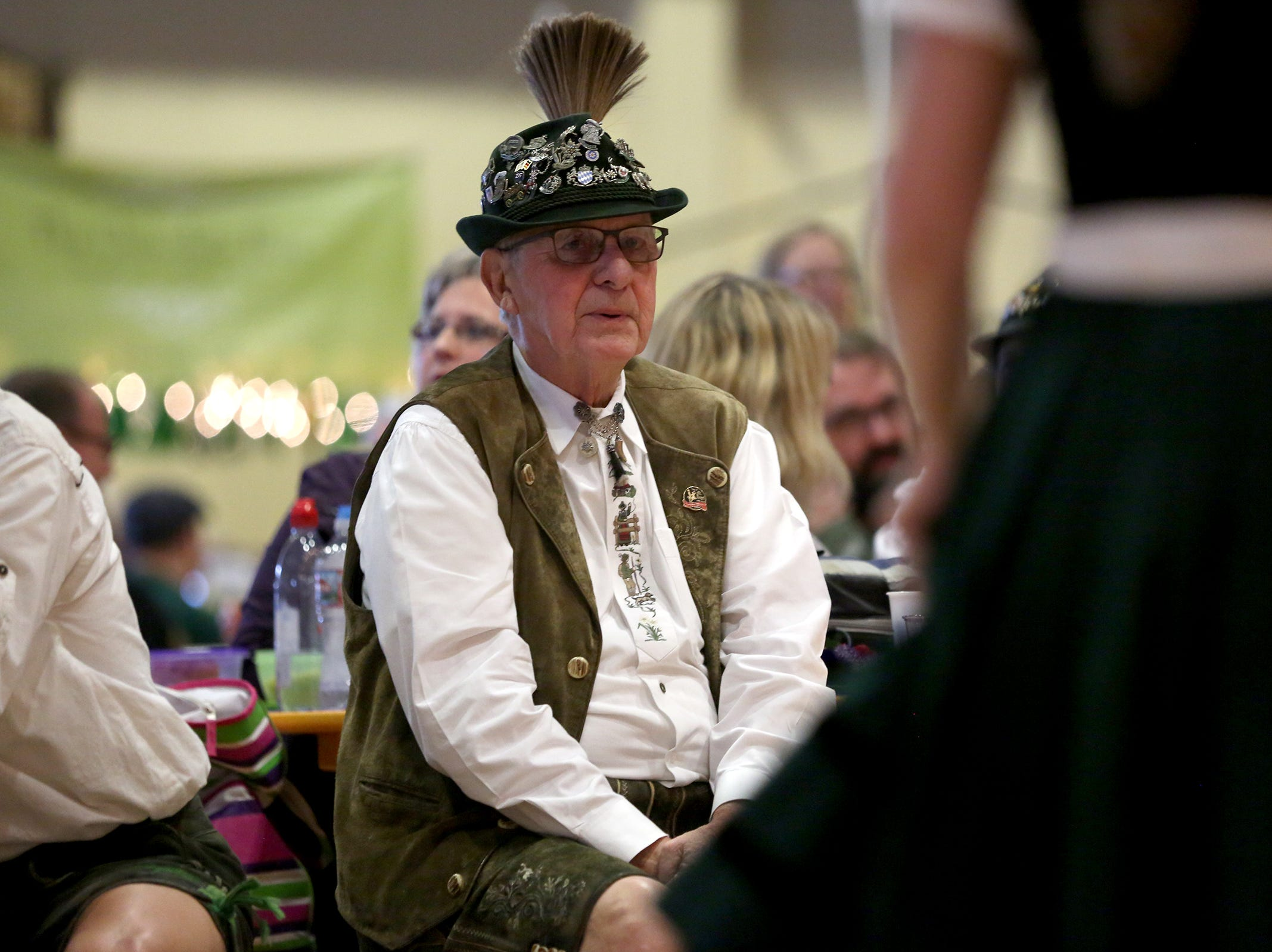 Spectators watch dancers perform at the annual Volksfest in Mt. Angel on Saturday, March 2, 2019.