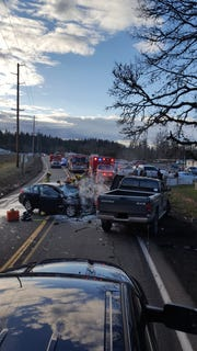 One person died after a two vehicle crash on Highway 211 near milepost 16 around 4:30 p.m. Friday, March 1.