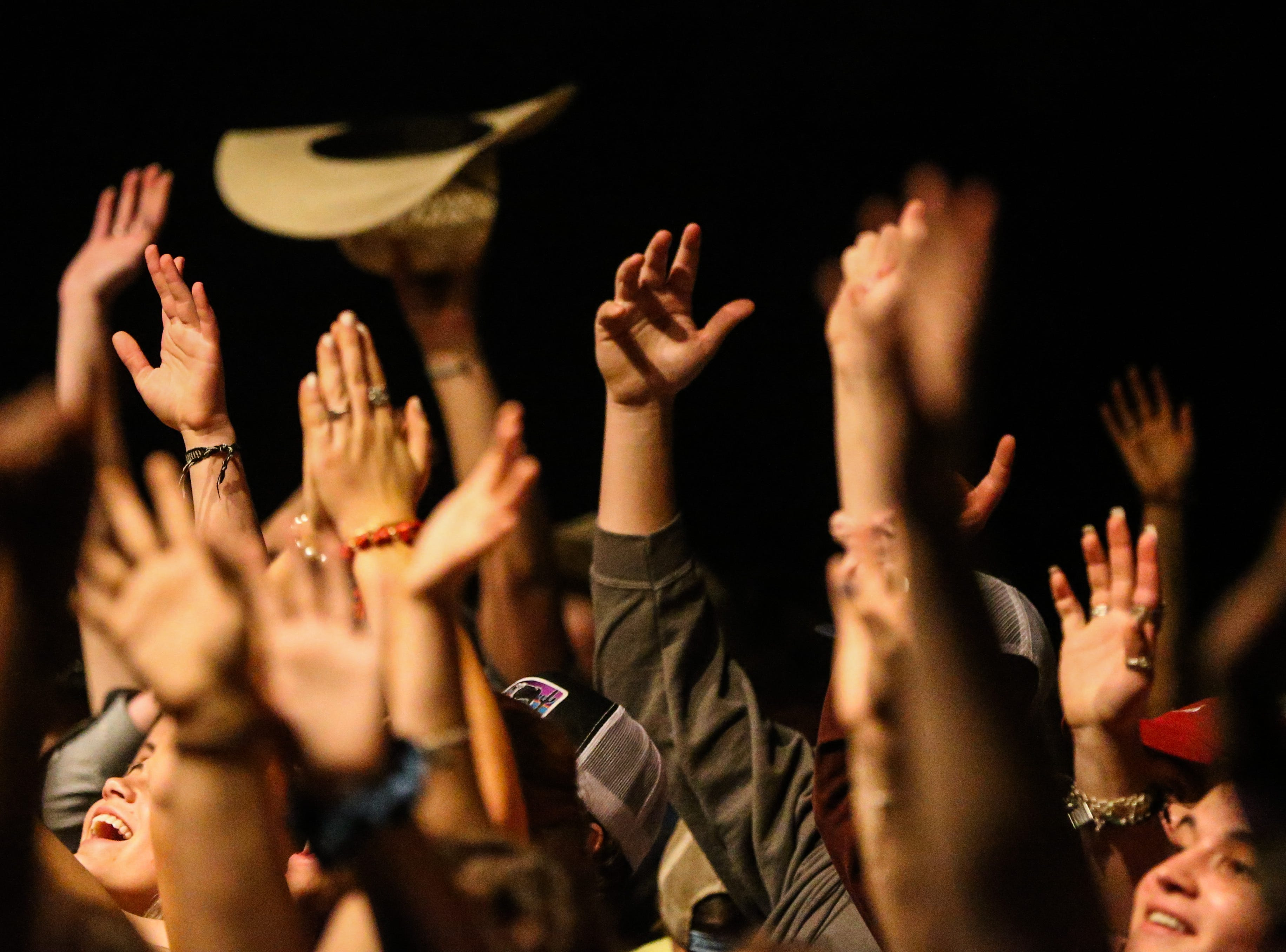 Concert goers cheer on for Flatland Cavalry during Wild West Fest Friday, March 1, 2019, at the Bill Aylor Sr. Memorial RiverStage.