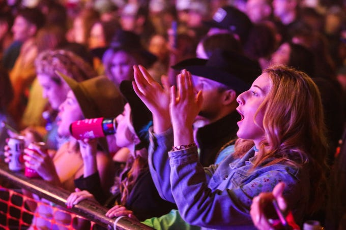 Fans cheer on as Flatland Cavalry performs during Wild West Fest Friday, March 1, 2019, at the Bill Aylor Sr. Memorial RiverStage.