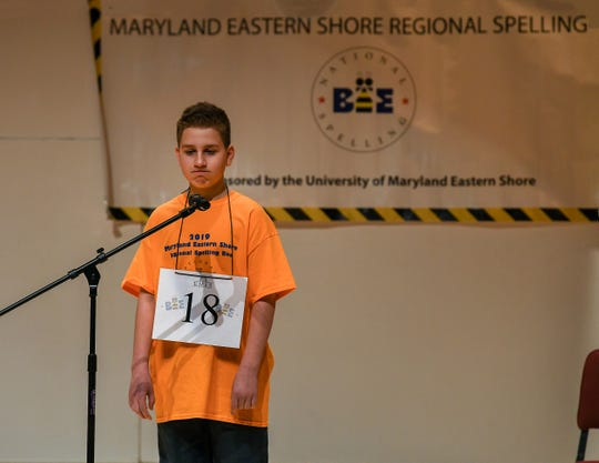 Salisbury Middle School student Austin Loar, 12, exuded a cool confidence in winning the 2019 Maryland Eastern Shore Regional Spelling Bee on Saturday, March 2, 2019.
