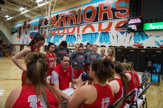 Rapid City Central team huddles during a game against Washington, Friday, March 1, 2019 in Sioux Falls, S.D.