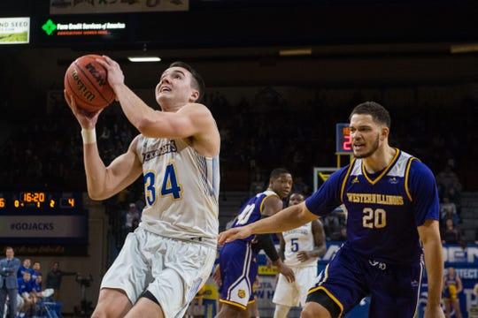 SDSU's Alex Arians (34) goes up for a shot during a game against Western Illinois, Saturday, March 2, 2019 in Brookings, S.D.