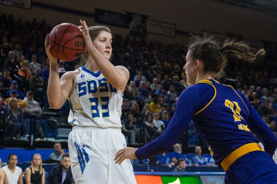 SDSU's Paiton Burckhard (33) looks to pass the ball during a game against Western Illinois, Saturday, March 2, 2019 in Brookings, S.D.