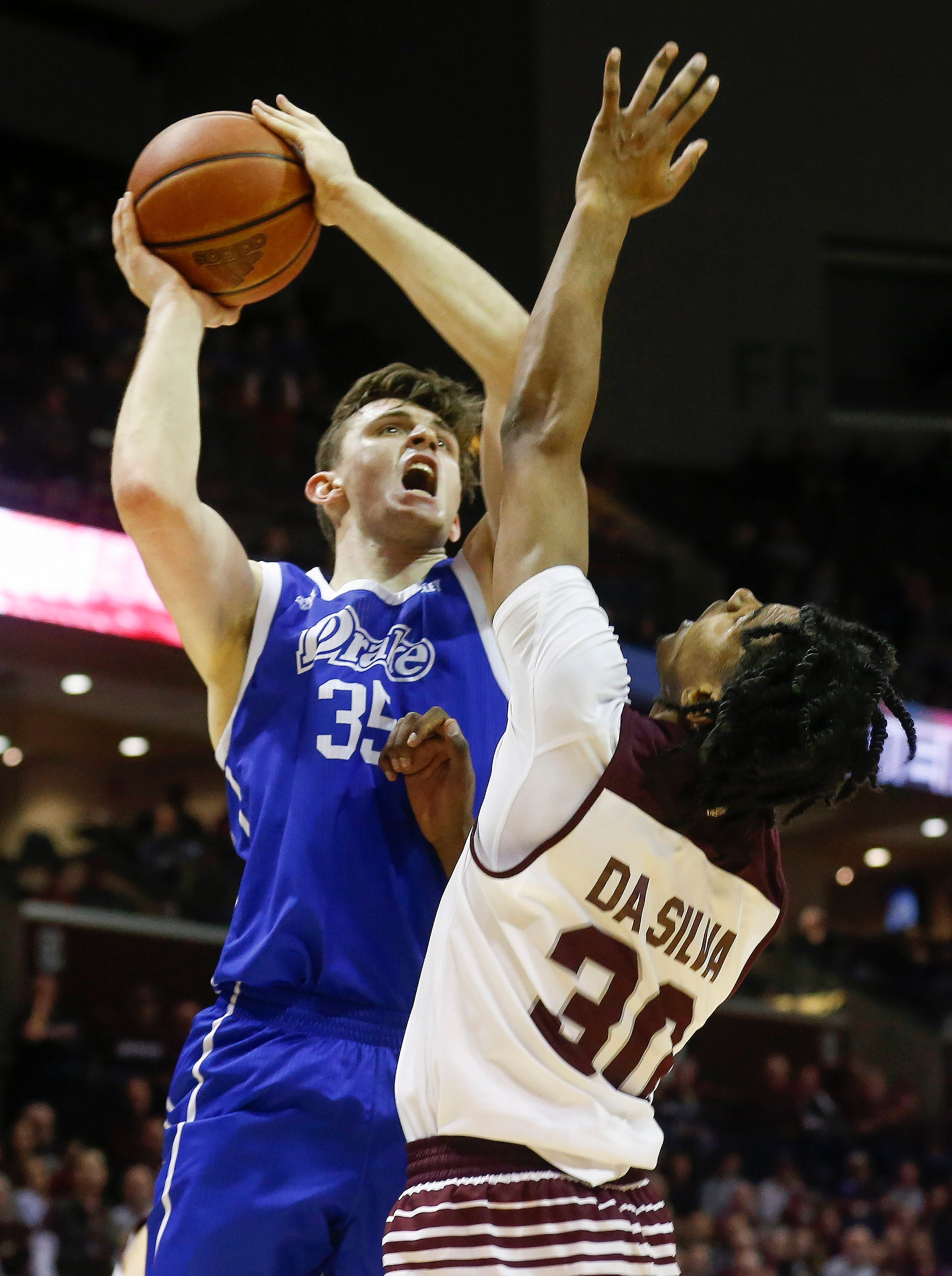 Nick McGlynn, of Drake, puts up a shot during the Bulldogs 73-62 over Missouri State at JQH Arena on Saturday, Mar. 2, 2019.