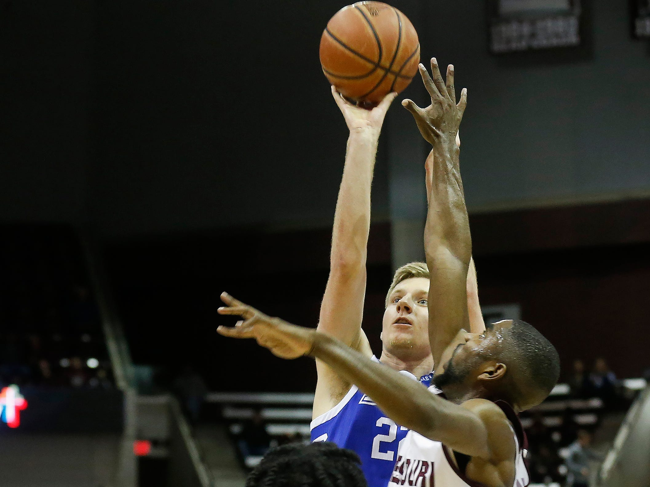 Brady Ellingson, of Drake, puts up a shot during the Bulldogs 73-62 over Missouri State at JQH Arena on Saturday, Mar. 2, 2019.