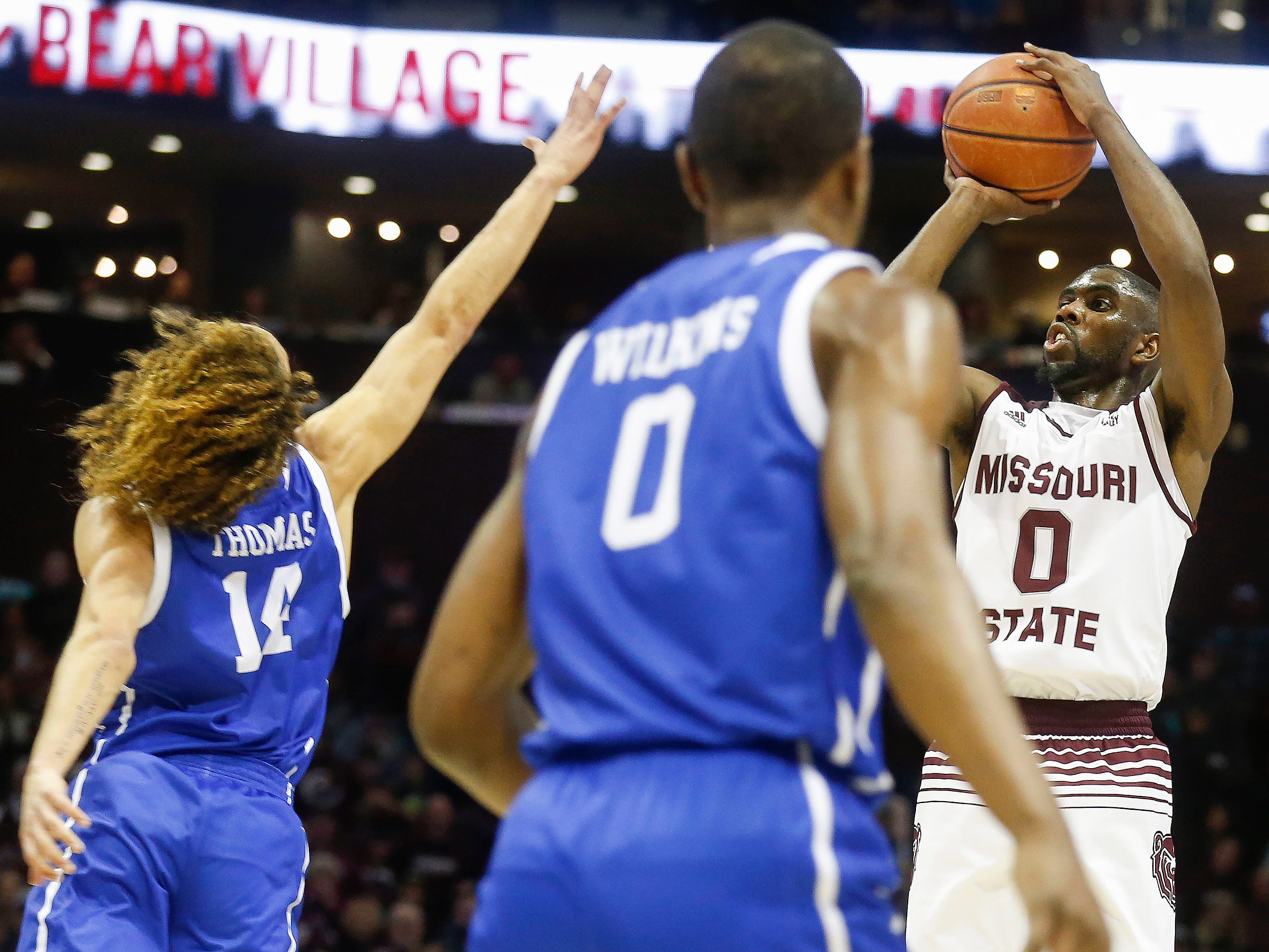Josh Webster takes a shot during the Missouri State game against Drake at JQH Arena on Saturday, Mar. 2, 2019.