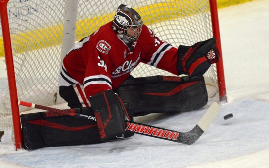 St. Cloud State senior David Hrenak makes a save against Western Michigan on Friday in Kalamazoo, MI.