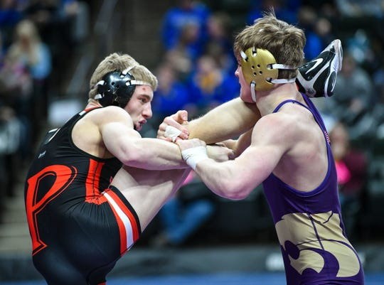 Matt Kapsner of Pierz wrestles Cade Mueller of Waconia in a state semifinal match Saturday, March 2, 2019, at the Xcel Energy Center in St. Paul. Pierz's move to the Granite Ridge this school year makes the conference one of the top ones in Class 2A in the state.