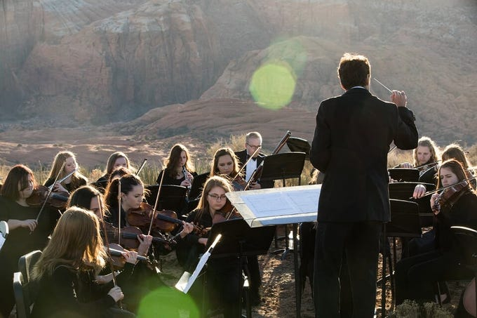 The Dixie State Orchestra is directed by Dr. Paul Abegg. Undated file photo.