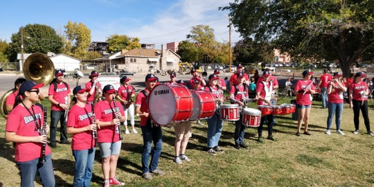 Jay Nygaard directs the DSU Varsity/Pep band for home football and basketball games. Here the group is shown practicing outside at Dixie State University.